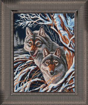 Набор для вышивания бисером Золотые ручки «Волки»
