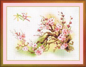 Набор для вышивания крестом Риолис «Ветка сакуры»