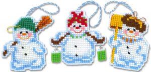 Набор для вышивания крестом Риолис «Новогодние игрушки Снеговички»
