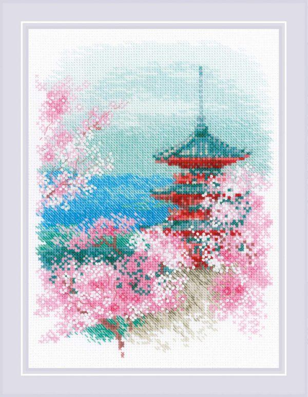 Набор для вышивания крестом Риолис «Сакура. Пагода»