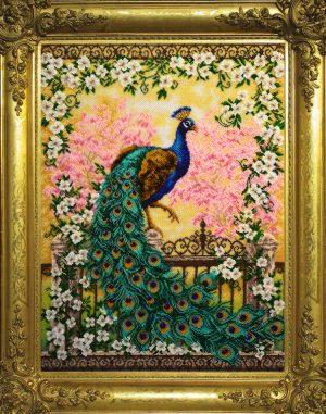 Набор для вышивания бисером Золотые ручки «Великолепный павлин»