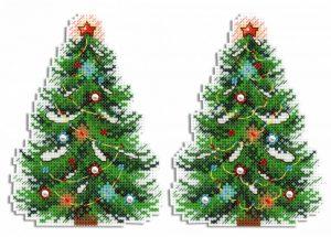 Набор для вышивания на пластиковой канве ЖАР-ПТИЦА «Новогодняя красавица»