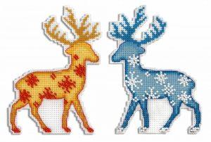 Набор для вышивания на пластиковой канве ЖАР-ПТИЦА «Северный олень»