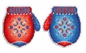 Набор для вышивания на пластиковой канве ЖАР-ПТИЦА «Морозная рукавичка»