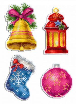 Набор для вышивания на пластиковой канве ЖАР-ПТИЦА «Новогодние магниты»