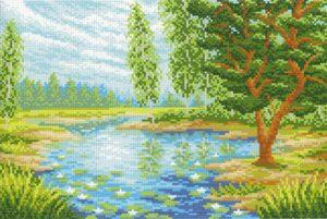 Канва Аида 14 с нанесенным рисунком-схемой «Лесная заводь»
