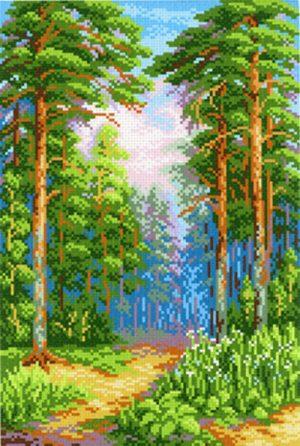 Канва Аида 14 с нанесенным рисунком-схемой М.П. Студия «Сосновый бор»