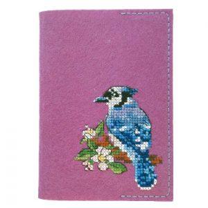 Набор для вышивания Дивная вишня Обложка на паспорт «Сойка»