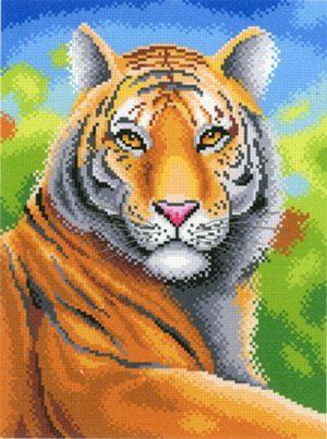 Канва Аида 14 с нанесенным рисунком-схемой М.П. Студия «Царственный тигр»