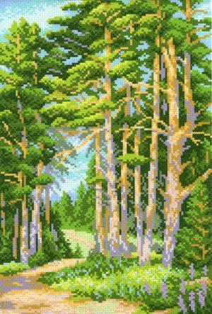 Канва Аида 14 с нанесенным рисунком-схемой М.П. Студия «На лесной опушке»