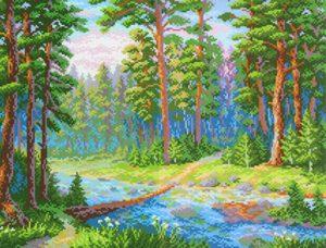 Канва Аида 14 с нанесенным рисунком-схемой М.П. Студия «Лесная речка»