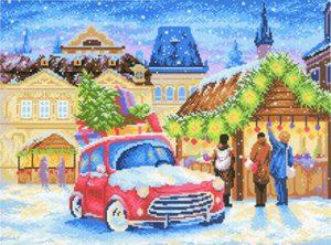 Канва Аида 14 с нанесенным рисунком-схемой М.П. Студия «Рождественская ярмарка»