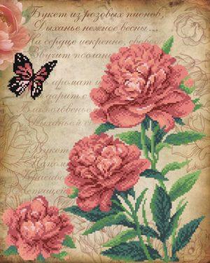 Рисунок на габардине для вышивания бисером М.П. Студия «Пышные пионы»