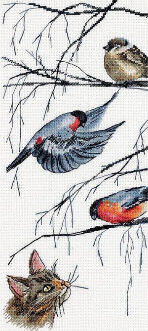 Набор для вышивки крестом PANNA «Любопытный кот и птички»