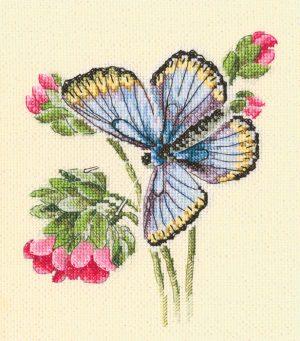 Набор для вышивки крестом RTO «Бабочка села на нежный цветок»