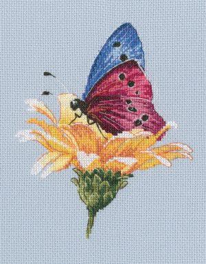 Набор для вышивки крестом RTO «Бабочка на цветке»