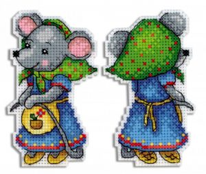 Набор для вышивания на пластиковой канве ЖАР-ПТИЦА «Мышка-норушка»