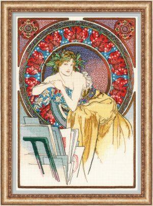 Набор для вышивания крестом Риолис «Девушка с мольбертом» по мотивам произведения А. Мухи