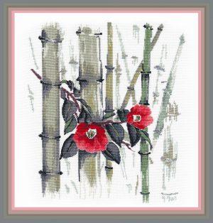 Набор для вышивания Овен «Камелии в бамбуковой роще»