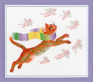 Набор для вышивания Золотое Руно «Охота на розовых мышей»