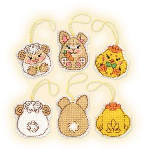 Набор для вышивки крестом Риолис «Пасхальный кролик и его друзья»