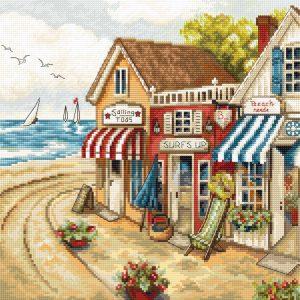 Набор для вышивки крестом Letistitch «Shops by the sea» Магазины у моря