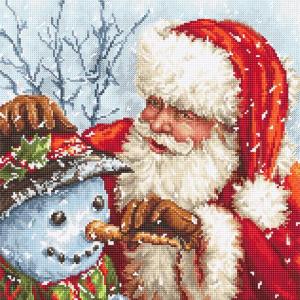 Набор для вышивки крестом Letistitch «Santa Claus and Snowman» Дед мороз и снеговик