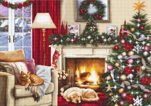 Набор для вышивания крестом LUCA-S «Рождественский интерьер»