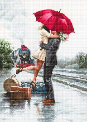 Набор для вышивания крестом LUCA-S «Влюбленные на вокзале»