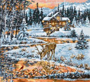 Набор для вышивания крестом LUCA-S «Хижина в лесу»