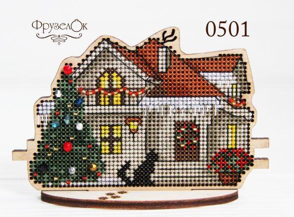 Набор для вышивания крестиком на деревянной основе Фрузелок «Зимний дом»