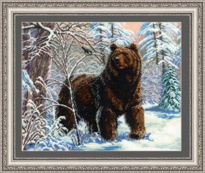 Набор для вышивания бисером Золотые ручки «Медведь и синичка»
