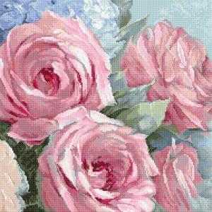 Набор для вышивания крестом Letistitch «Бледно-Розовые Розы» Pale Pink Roses LETI.928