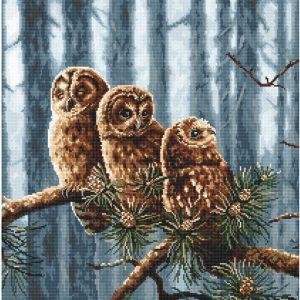 Набор для вышивания крестом Letistitch «Семья сов» Owls family LETI.946