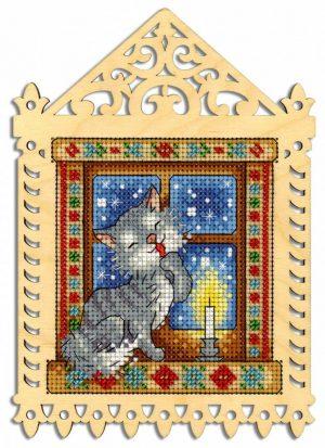 Набор для вышивания на деревянной основе М.П.CТУДИЯ «Зимний вечер» О-001