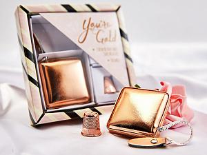 Подарочный набор сантиметр-рулетка и наперсток, Розовое золото HEMLINE N4376.2