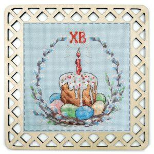 Набор для вышивания с пришивной рамкой Марья Искусница «Пасхальный кулич» 22.002.09