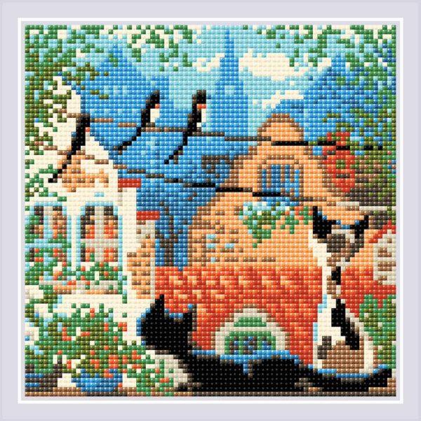Алмазная мозаика Риолис «Город и кошки. Лето» АМ0048