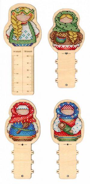 Набор для вышивания на деревянной основе М.П.CТУДИЯ «Русские обереги. Линейка + 3 бобины» О-005