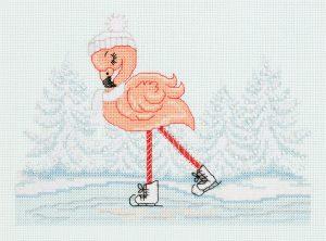 Набор для вышивания в смешанной технике Klart «Фламинго на коньках» 8-417