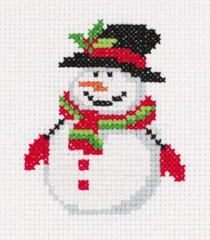 Набор для вышивания крестом Klart «Снеговичок в шляпе» 8-451