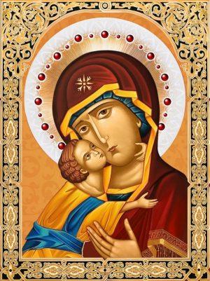 Картина стразами Алмазная Живопись «Икона Владимирская Богородица» АЖ-1844