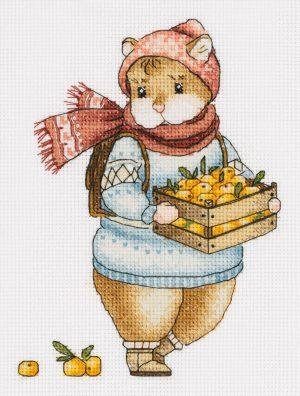 Набор для вышивания крестом Panna «Хомяк с мандаринами» J-7137