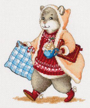 Набор для вышивания крестом Panna «Хомяк с какао» J-7138