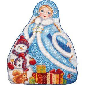 Набор для вышивания крестом Panna «Подушка. Снегурочка» PD-7203