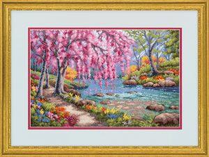 Набор для вышивки крестом Dimensions «Цветение вишни над ручьем» DMS-70-35374