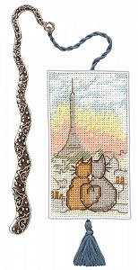 Набор для вышивания закладки Le Bonheur Des Dames «Marque page chats parisiens» 4615