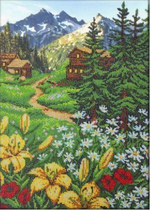 Набор для вышивки бисером Паутинка «Альпийское утро» Б-1406