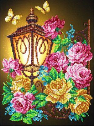 Набор для вышивки бисером Паутинка «Фонарик и розы» Б-1294