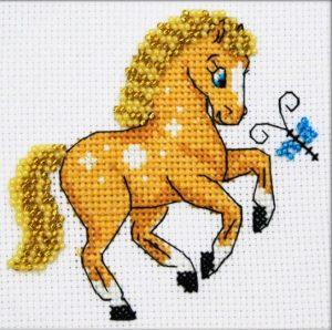 Набор для вышивки в смешанной технике Паутинка «Лошадка» БК-112